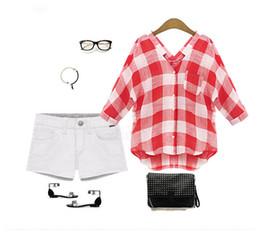 Blusa larga ocasional trasera online-Nfive marca 2017 nuevas mujeres de la manera primavera y otoño blusa de manga larga camisa a cuadros de todo fósforo respaldo informal camiseta suelta