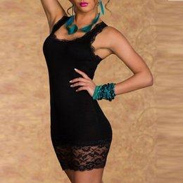 Wholesale Cheap Sexy Night Clothes - 2017 Cheap Black O-Neck Sleeveless Lace Sexy Women Dress Vestidos Clothing Clubwear