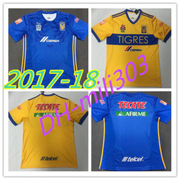 Wholesale H Shirts - Top thai quality 17 18 New Mexico club Tigres UANL soccer jersey home 5 Stars 2017 2018 GIGNAC Vargas H. Ayala SOSA away blue football Shirt