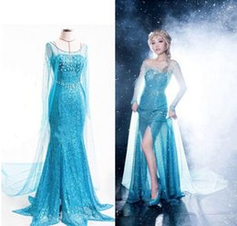 Wholesale Ice Princess Costumes - Halloween Fasion Ice Snow Queen Party Costume Cosplay Princess Dress Adult Girl women Birthday Gift Ball girls Snow White Princess