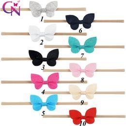 Wholesale Felt Hair Bands - Butterfly Shape Bows Nylon Headbands For Kids Girls Handmade Small Felt Hair Bows Tan Elastic Hair Band Hair Accessories 20 Pcs