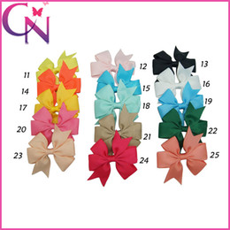 Wholesale Alligator Clips For Babies - 3 inch Cute Pinwheel Hair Bows Solid Grosgrain Ribbon Mini Hair Bow With Alligator Clip For Baby Handmade Girls Hair Accessories