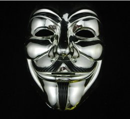 Wholesale Vendetta Gold - gold and silver V mask Vendetta black gold Mask With Eyeliner Anonymous Guy Fawkes Fancy Adult Costume Halloween Masks