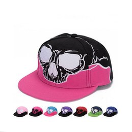 Wholesale Tight Cowboy - Good A++ Men and women demon hip hop hat genuine skull shade baseball cap Tata tight embroidery flat along the hat SMB044
