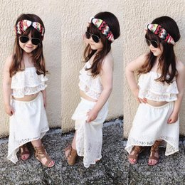 Wholesale Girl Set Lace Skirt - Girls INS lace suits Children fashion summer sleeveless lace short skirt 2 pieces set suit Baby kids clothing B001