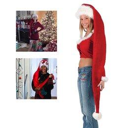 décorations de noël en rouge et blanc Promotion Fête de Noël Père Noël Long Chapeau Velours Rouge Blanc Casquette Costume De Noël Adulte Enfants De Noël Long Style Chapeaux De Noël Fournitures