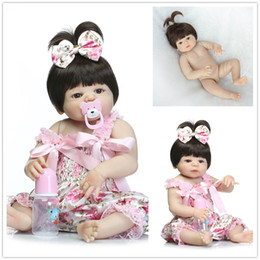 Wholesale Silicon Baby Dolls - Real Pictures New Rebon Baby Girl Dolls 23 Inches Long Hair Full silicon Vinyl Newborn Lifelike Toy Dolls Kids Boys Girls Bthing Play Toys