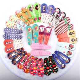 Wholesale Random Hair Styles - Wholesale- 3Pairs Cute Polka Dot Bow Animal Fabric Flowers Kit Slides Barrette Random Style BB Toddler Baby Headband Hair Clips for Girl