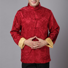 Wholesale Traditional Chinese Shirts Men - Wholesale- Cheongsam Top Traditional Chinese Clothing for Men Long Sleeve Male Satin Silk Costume Retro Men Shirt Chinese-suits AF01-BZ