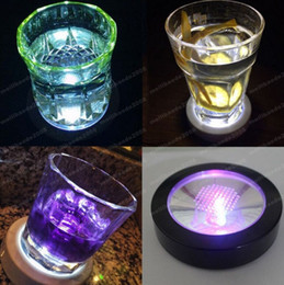 Wholesale Led Color Changing Light Coasters - Aihogard LED Light Bottle Cup Mat Coaster 7 Color Changing For Party Club Bars Light Decor Party Wedding Festival MYY