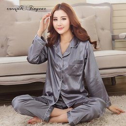 2016 Autumn New Arrival Women Satin Pajama Sets Long Sleeve Sleepwear Set  Two-pieces Big Size V-neck Breathable Pyjamas 4 colors 24f7a2e09