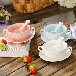 Wholesale Three Colors Choose - Ceramics Elegant Cute Breakfast Cup Dessert Bowls Soup Mug With Saucer and spoon,Three Colors For Choose
