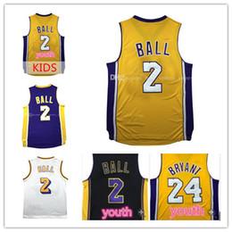 Wholesale Men S Mesh - 2017 New Men Lonzo Ball #2 jersey youth Kid Ball Bryant jersey Men Retro Mesh Lonzo Ball stitched Basketball Jerseys Free Shipping