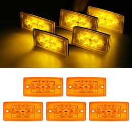 Wholesale Led Roof Lights Amber - 5pcs Rectangle Amber 6 LED Cab Roof Top Clearance Marker Light for Freightliner For Volvo Free shipping