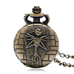 Wholesale Skull Watch Necklace - Wholesale-Hot Sell Vintage The Nightmare Before Christmas Halloween Skull Design Small Pocket Watch with Necklace Chain Gift for Boy Girl