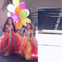 Wholesale Dress Rainbow Layer - Multicolour Spaghetti Layers Tulle Flower Girls Dress Hand Woven Flower Long Colorful Rainbow Dresses For Girl Customized Pageant Gowns