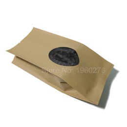 Wholesale Gusset Bags Wholesale - 14 Wire Thickness 10x24cm(4x9.5in) Side Gussets Flat Pouch Tear Notches Heat Seal Brown Kraft Paper Open Top Bag w  Clear Window
