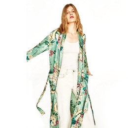 Wholesale Japanese Kimono Cardigan Women Fashion Street Wear Green Floral Print Costumes Kimono Jacket Beach Casual Long Blouse Shirt
