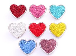 Wholesale Catering Plates - 20Pcs Hearts Full Crystal Rhinestone 18mm metal ginger snap button for women's cater love bracelet watches women one direction 2017 Jewelry