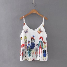 Wholesale Wholesale Ladies Butterfly Tops - Wholesale- Summer Style Tank Tops, Women Fashion Leisure Butterfly Beauty Printed Blouse Sexy Backless Condole Tops Ladies Vest Singlets