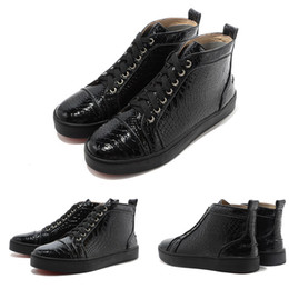 Wholesale Fish Furs - Casual shoes for men Black Patent leather fish grain sports leisure sneaker, Red Bottom shoes for women Fashion Design High Top