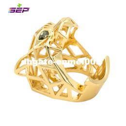 anel de casal de ouro branco de 14k Desconto Pantera Pantera Leopardo Olhos Verdes para Homens / Mulheres Cristais Acessórios Jóias RIA003