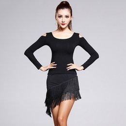 Wholesale Dance Fitness Top - 2016 Lady Latin Dance Costumes Top&Skirt Black Modal&Ice Silk&Tassel Long Sleeve Fitness Clothes Regata Feminina Dress Women DQ3140