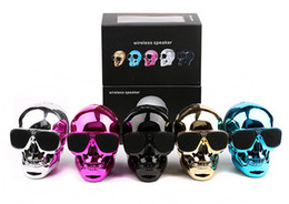 Wholesale Head Mp3 Player - New Portable Skull Bluetooth Speakers Skull Head Ghost Wireless Stereo Subwoofer Mega Bass 3D Stereo Hand-free Audio Player Mini Speaker DHL