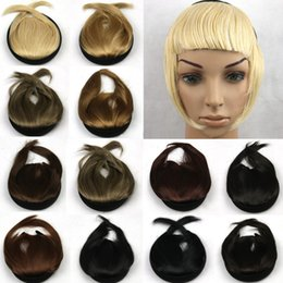 Wholesale Wholesale Clip Extension Bangs - Wholesale-3 Colors Front Bangs With TemplesHair Extensions Lace Bang Closure Perucas Synthetic Hair Brown Black Clip on Front Neat Bang