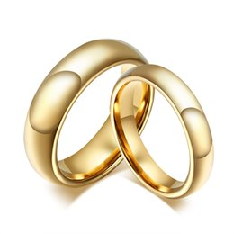 Wholesale Tungsten Gold Rings For Couples - Tungsten Carbide Wedding Rings For Couple Gold Color For Women Men Vintage Lover's Jewelry CTR-011