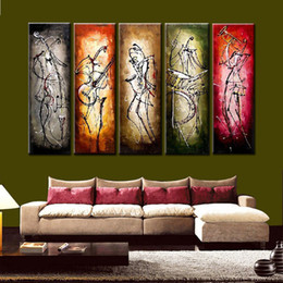 Wholesale Nude Oil Painting Large - 5 color group canvas wall painting large 100% hand painted abstract lines figure art muisician canvas oil picture for home decoration