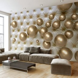 Wholesale Large Modern Paintings - Custom 3D Photo Wallpaper Modern 3D Stereoscopic Golden Ball Soft Pack Background Large Wall Painting Living Room Bedroom Mural