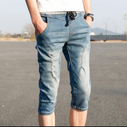 Wholesale Mens Destroyed Denim Shorts - Wholesale- Spring New Fashion Mens Jean Shorts Denim Casual Shorts Ripped Distressed Destroyed Color Blue Size M-2XL Free Shipping woptbi