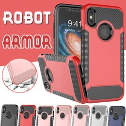 Wholesale Hybrid Combo Iphone - Robot Armor Combo Case Defender Electroplate Plating Outdoor Shockproof Hybrid TPU PC Cover For iPhone X 8 7 Plus 6 6S Samsung Note 8 S8