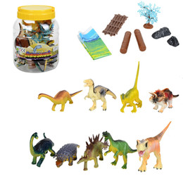 Wholesale Christmas Packaging For Toys - 9pcs set 15cm PVC Jurassic Dinosaur Model Toy Sets with plastic crock package For Kids Christmas gift