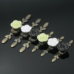Wholesale Drawer Knobs Kid - 2017 New Child  kids White Green Black Cute Rose shape ceramic single door knob handle pull Long base cabinet drawer furniture pull#442