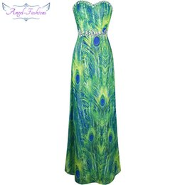 Wholesale Empire Feather Dress - Angel-Fashions Women's Strapless Sweetheart Peacock Feather Printing Beaded Rhinestones Chiffon Party Dresses Prom Gowns Green A-039GN