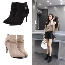 Wholesale Lycra Stretch Dress - 2017 Winter New Fashion Women Short Ankle Boots High Quality Suede Leather Snow Boots Ladies Dress Shoes Pointed Toe Thin High Heels CR79