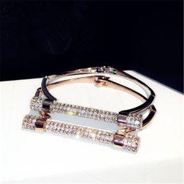 Wholesale Crystal Arms - Luxury Crystal Horseshoe Cuff Bracelets Brand Rhinestones Arm Bangles Pulseira Feminina For Women Bijoux NAWEILY Fashion Jewelry