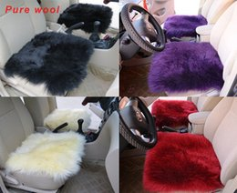 Wholesale Sheepskin Car Cushion - Genuine Sheepskin Long Wool Car Seat Covers Chair cushion 1pcs Multi color opti
