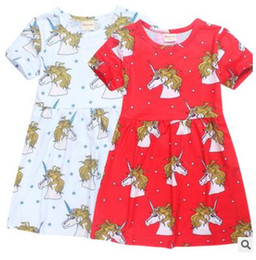 Wholesale Dress Patterns For Children - Children Unicorn Dress for Baby Girls Summer Cute Unicorn Pattern Short Sleeve Girls Dresses Big Kids Clothes Girls Boutique Clothing 794