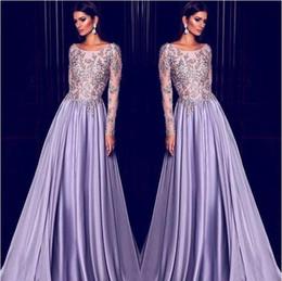Elie Saab lavanda Dubai arabo caftano maniche lunghe abiti da sera ricamo  oro 2017 elegante collo puro vestito celebrità usura del partito di  promenade f41b25fa096