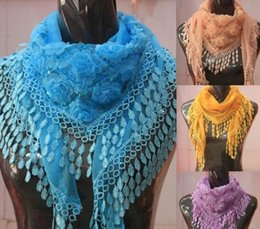 Wholesale Pink Sheer Girl Lady - Fashion Women Lady Girl Sheer Chiffon Embroidered Triangle Scarves Shawl Tassel Silk Scarf 150*50CM