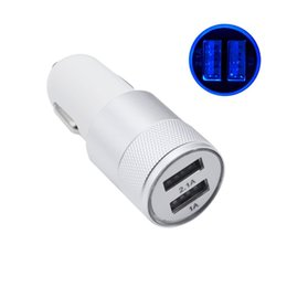 Wholesale Micro Usb Au Plug - For Iphone 7 Travel Adapter Metal Car Charger 2 Ports Colorful Micro USB Car Plug USB Adapter For Iphone 6 Iphone 6 Plus OPP Package