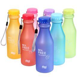 Wholesale Wholesale Clear Plastic Water Bottles - 550ML Candy Color Korea Style Newest Design Portable Clear My Bottle Healthy Sport Bicycle Plastic Fruit Lemon Juice Water Cup DHL