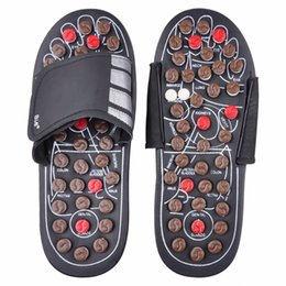 Wholesale Health Massage Shoes - Foot Massage Slippers Health Shoe Sandal Reflex Massages Rotating Acupuncture Foot Healthy Tai chi Massager Shoes