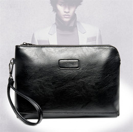 Wholesale Large Wallet Organizer - Men Bag Split Leather Business Men Clutch Bags Zipper Large Capacity Male Handbag Pack Causal Bags Vintage Card Holders BA245