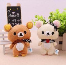 Wholesale Teddy Bear Doll Charm - 1Pair 11cm Kawaii Lover Rilakkuma Bear Plush Stuffed TOY , Soft Figure DOLL , Key Chain Design; Relax Bear BAG Pendant Charm TOY