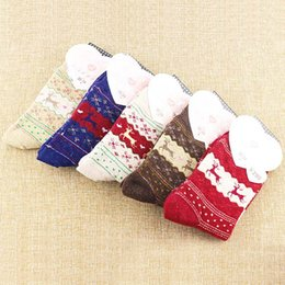 Wholesale Thick Red Wool Socks - 2017 New Spring Autumn Winter Thick Keep Warm Women Socks Lovely Classical 5 Colors Beautiful Deer Geometric Pattern Wool Blends Sock