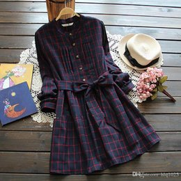 Wholesale Women Wearing Cute Dresses - Japanese Style Mori Girl Vintage Plaid Shirt dresses Cute casaul vestidos Spring Autumn new women dress with belt